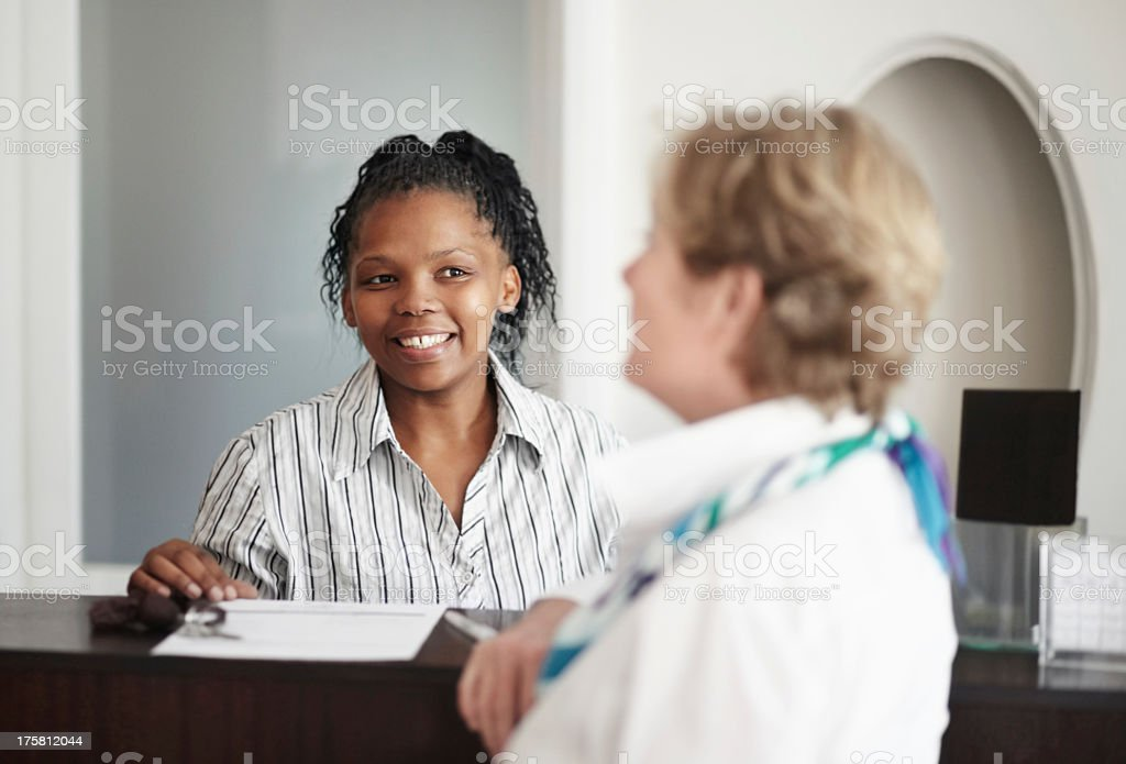 Diligent, friendly assistance royalty-free stock photo