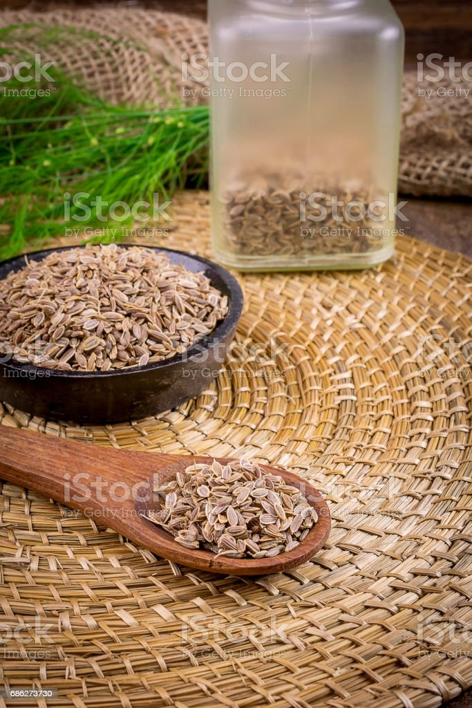 dill and seeds on a wooden spoon stock photo