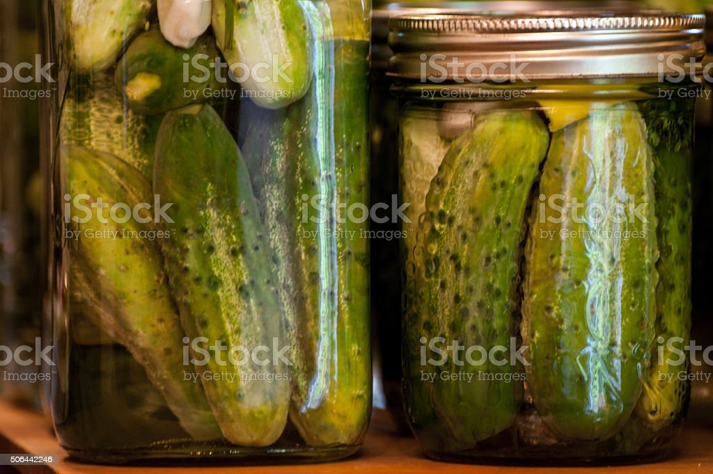 Dill Pickles Quart and Pint stock photo