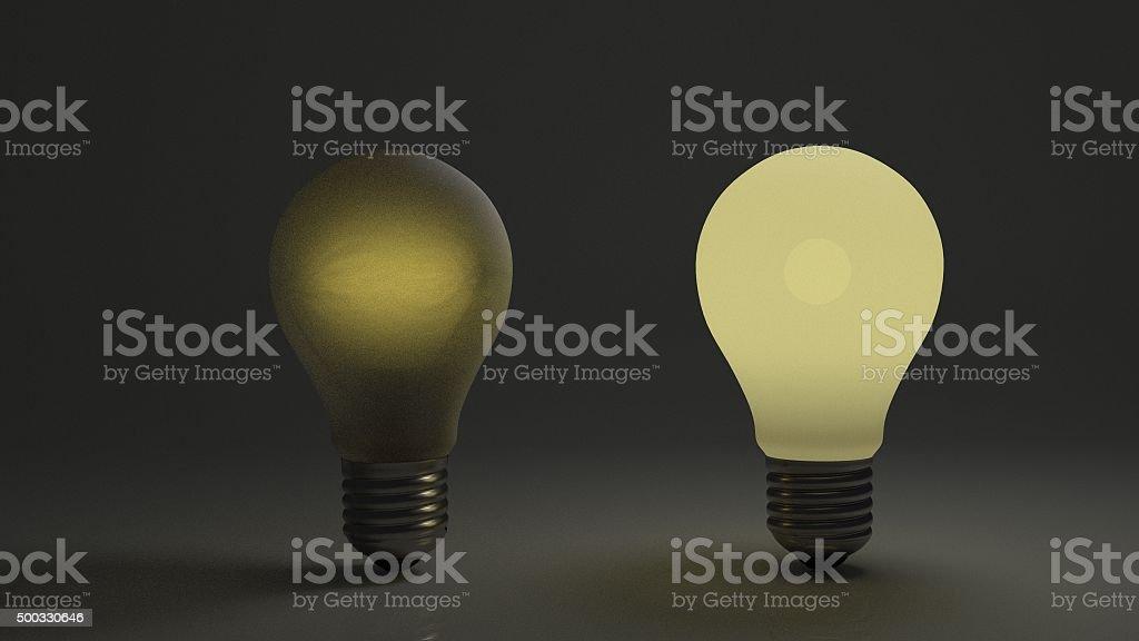 Dim bulb with bright bulb stock photo