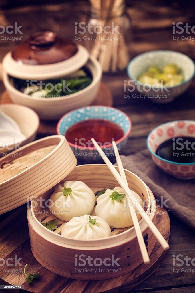 Dim Sum Dumplings Freshly Steamed in a Bamboo Steamer stock photo