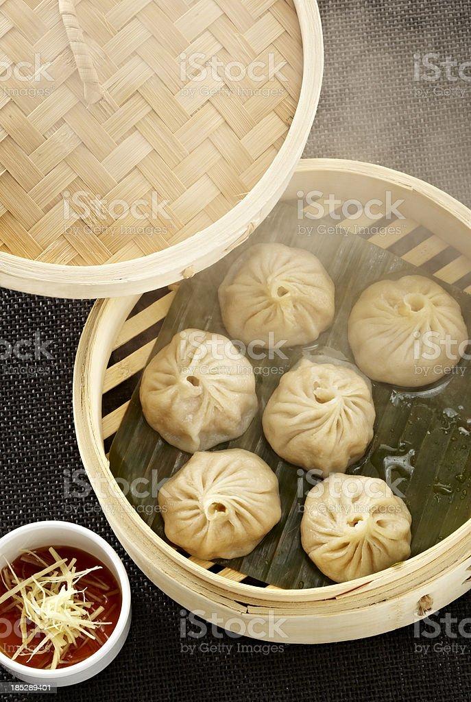 Dim sum dumplings with steam royalty-free stock photo
