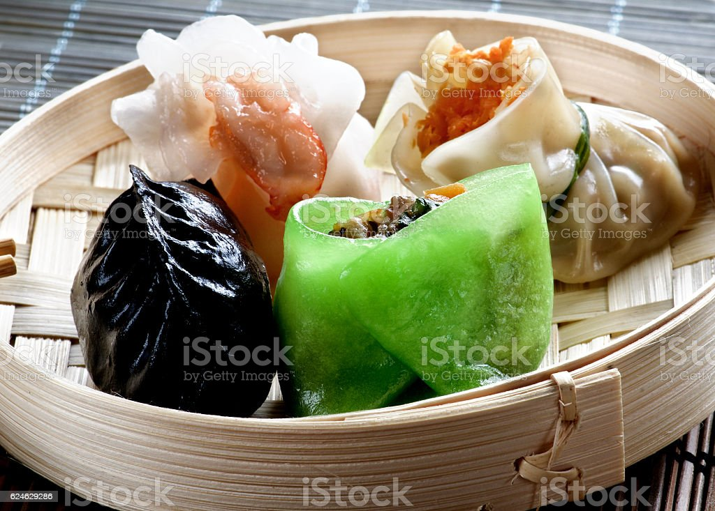 Dim Sum in Bamboo Bow stock photo