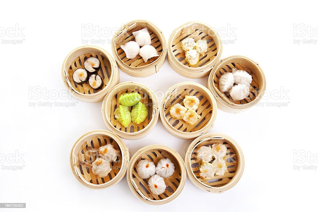 Dim Sum in Bamboo Steamed Bow stock photo