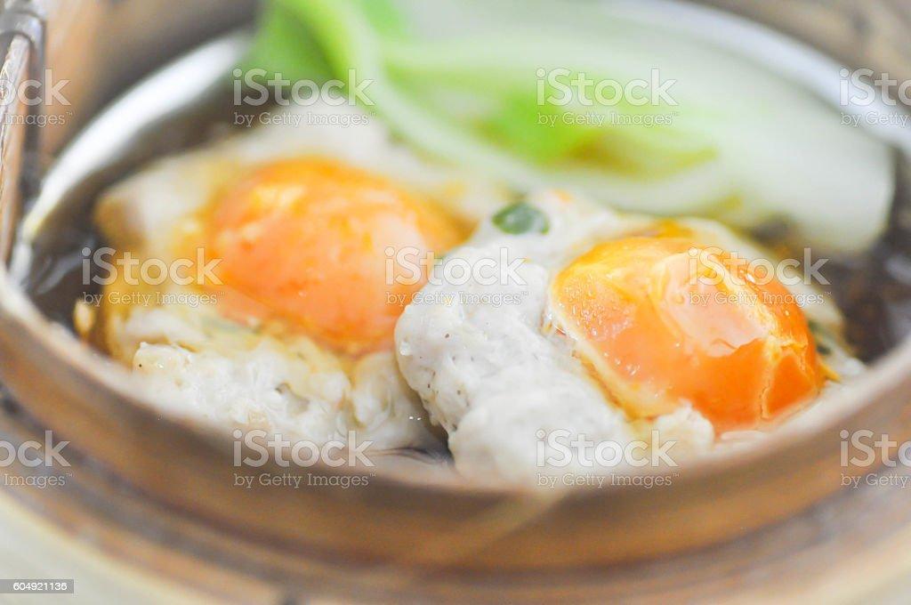 dim sum or steam egg stock photo