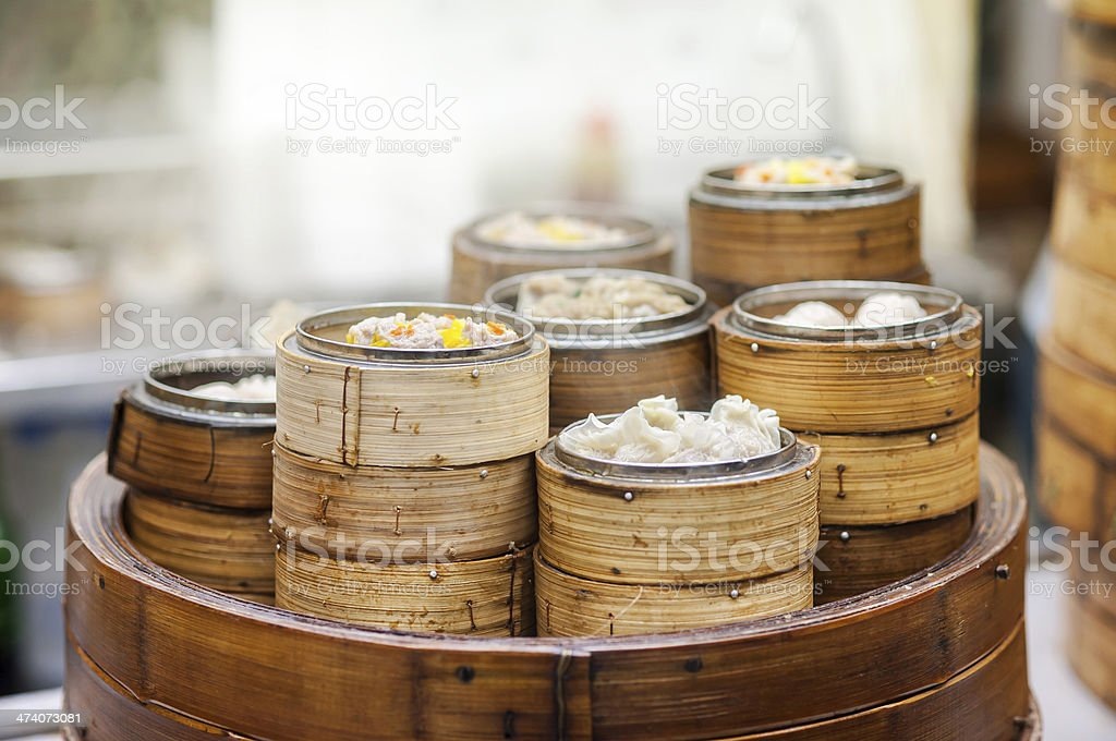 Dim sum steamers at a Chinese restaurant, Hong Kong stock photo