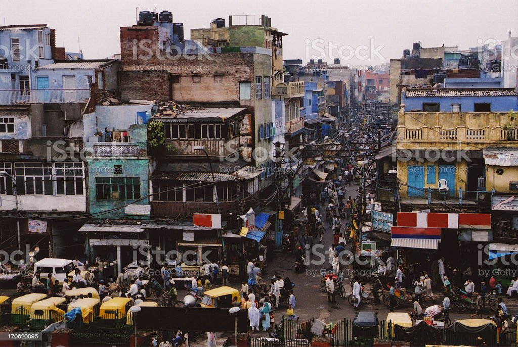 Dim-colored landscape of the crowded city of New Delhi stock photo
