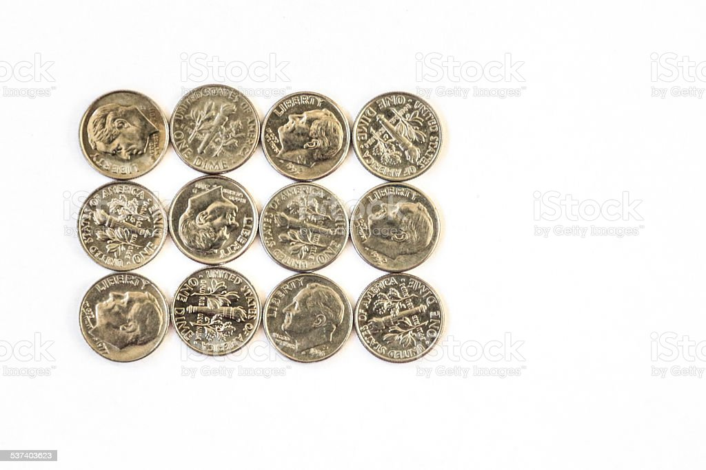 Dime a dozen, dimes in a rectangle stock photo