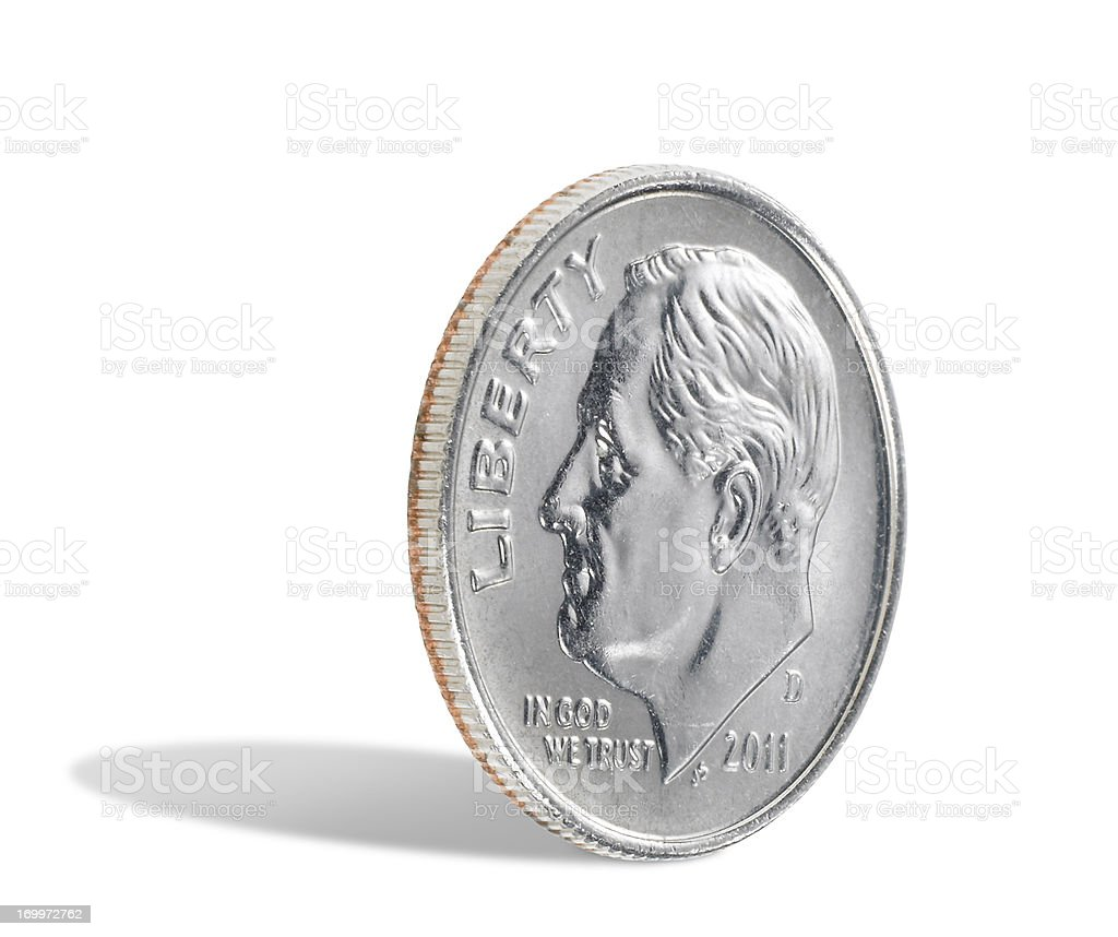 US dime on white background stock photo