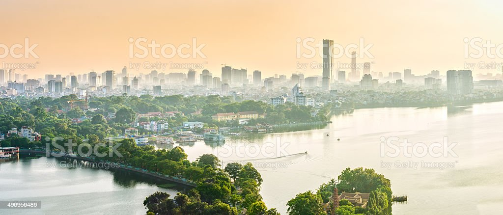 Dimensional panorama West Lake, Hanoi, Vietnam stock photo