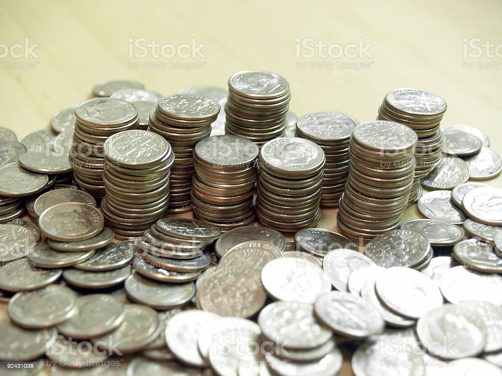 Dimes - Piles and Stacks royalty-free stock photo