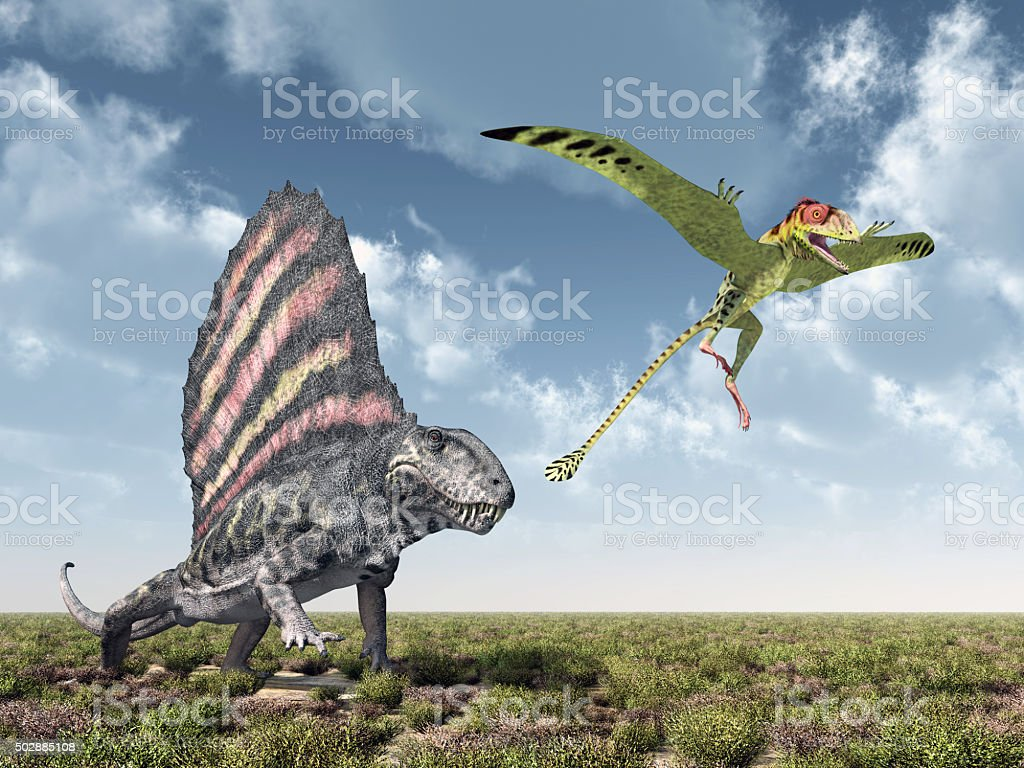 Dimetrodon attacks Peteinosaurus stock photo