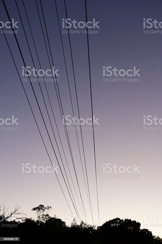 Diminishing Parallel Power Lines Silhouetted at Twilight stock photo