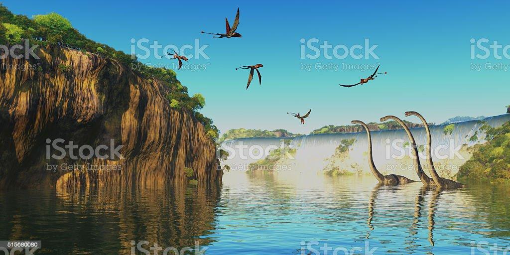 Dimorphodon and Omeisaurus Dinosaurs stock photo