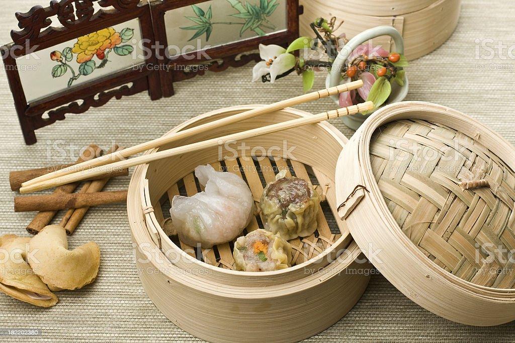 Dimsum Hagao and Shumai mix in chinese bamboo basket royalty-free stock photo