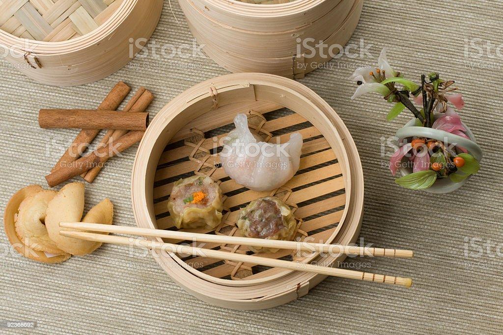 Dimsum Hagao and Shumai mix in chinese bamboo basket stock photo