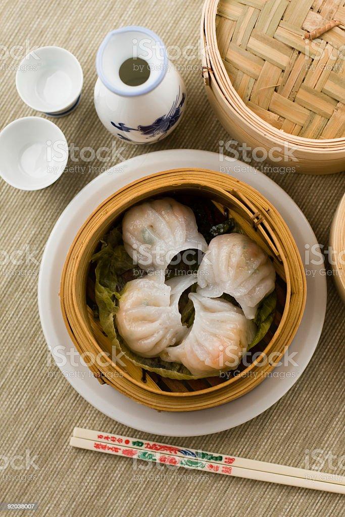 Dimsum 'Hagao' in bamboo basket stock photo