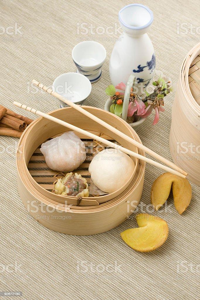 Dimsum mix in bamboo basket stock photo