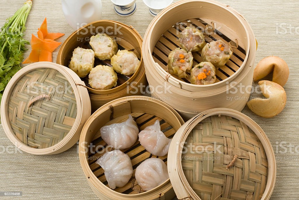 dimsum mix with hagao shumai and more stock photo