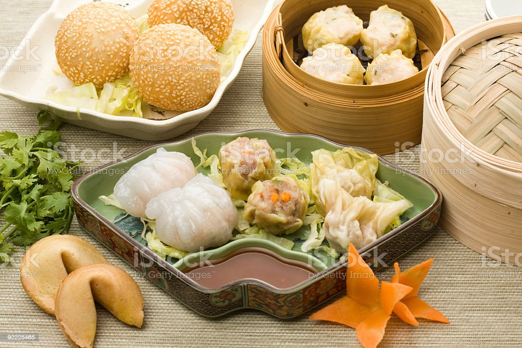 dimsum plate with hagao shumai and more stock photo