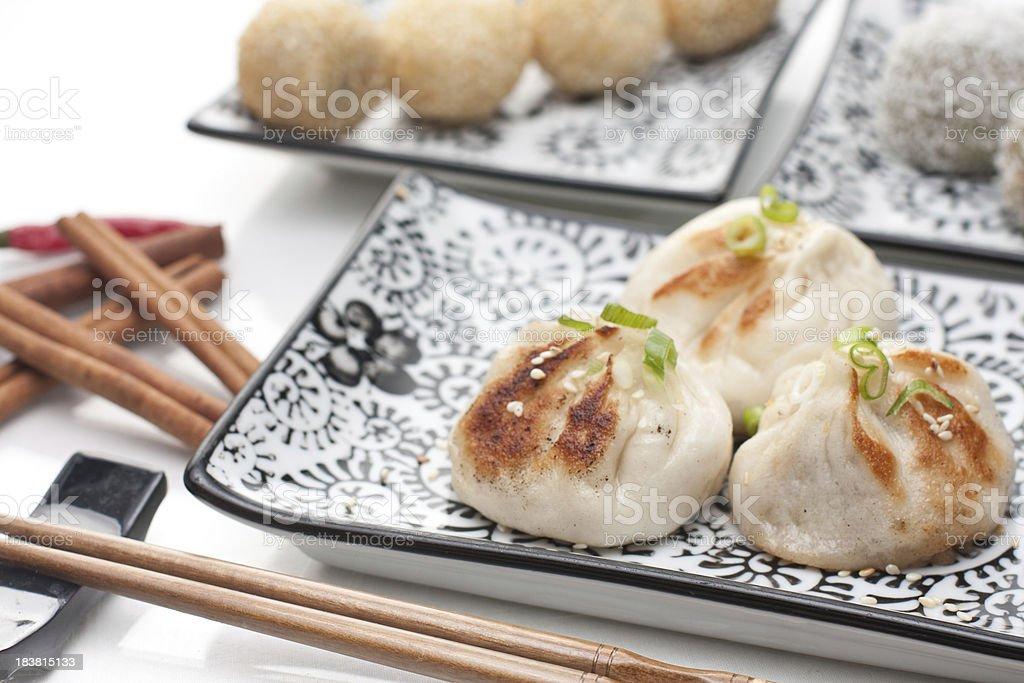Dimsum Wo Tip, sesame and rice balls stock photo
