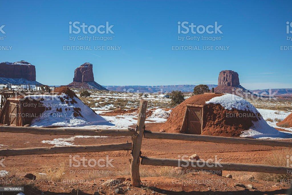 HOGAN Diné (Navajo) Traditional House stock photo