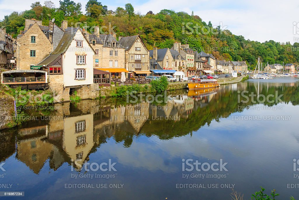 Dinan Old Port stock photo