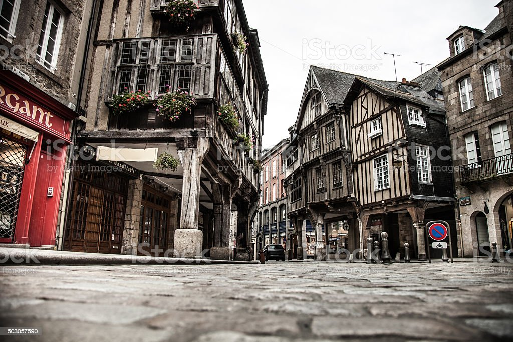 Dinan old town city in Brittany, France stock photo