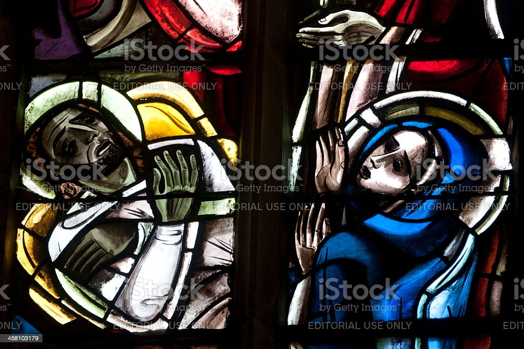 Dinan, stained glass window royalty-free stock photo