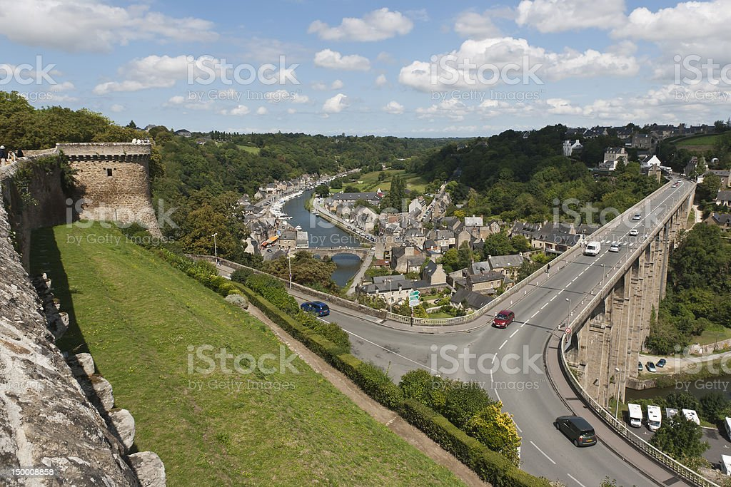 Dinan - Viaduct on Rance's river royalty-free stock photo