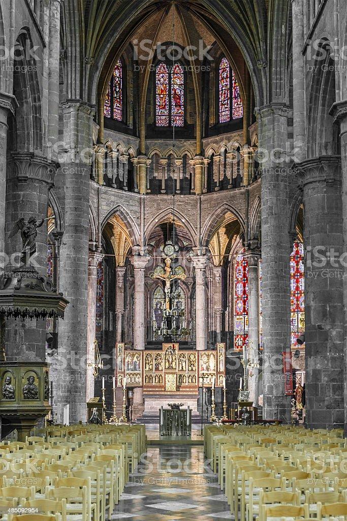 Dinant - Collégiale Notre-Dame de Dinant, Belgium stock photo