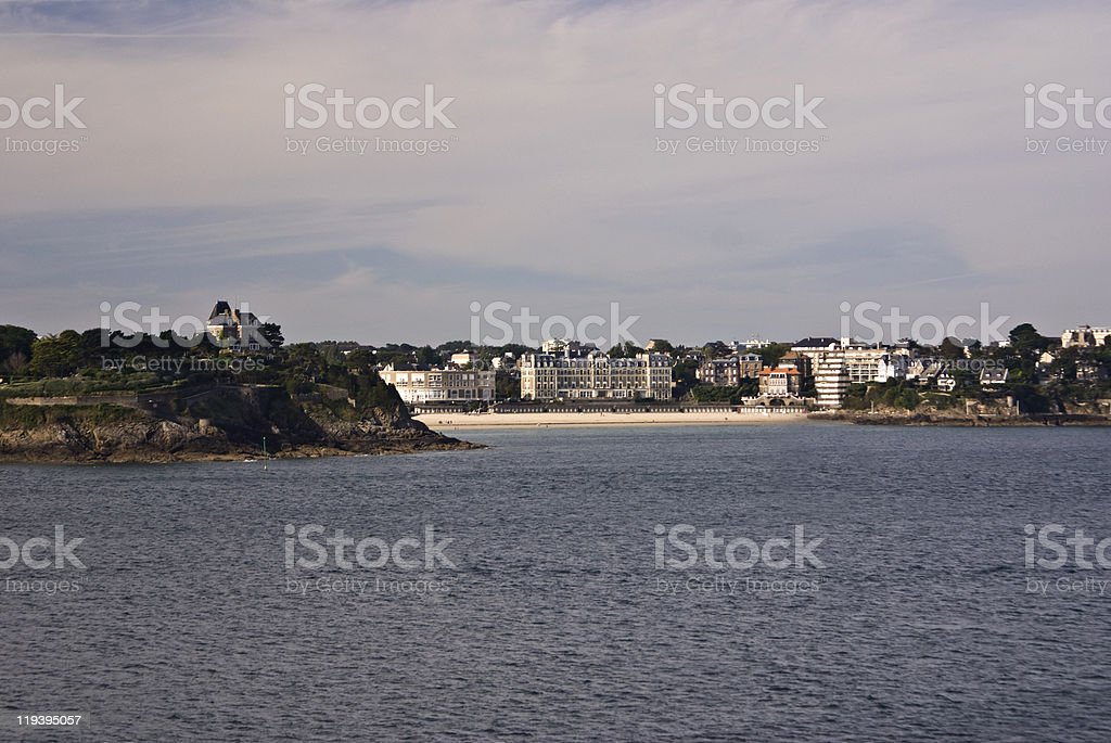 Dinard Beach,Brittany, France view from the sea stock photo