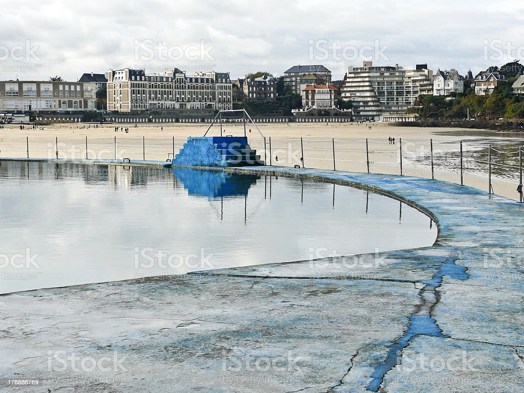 Dinard swimming pool and beach stock photo
