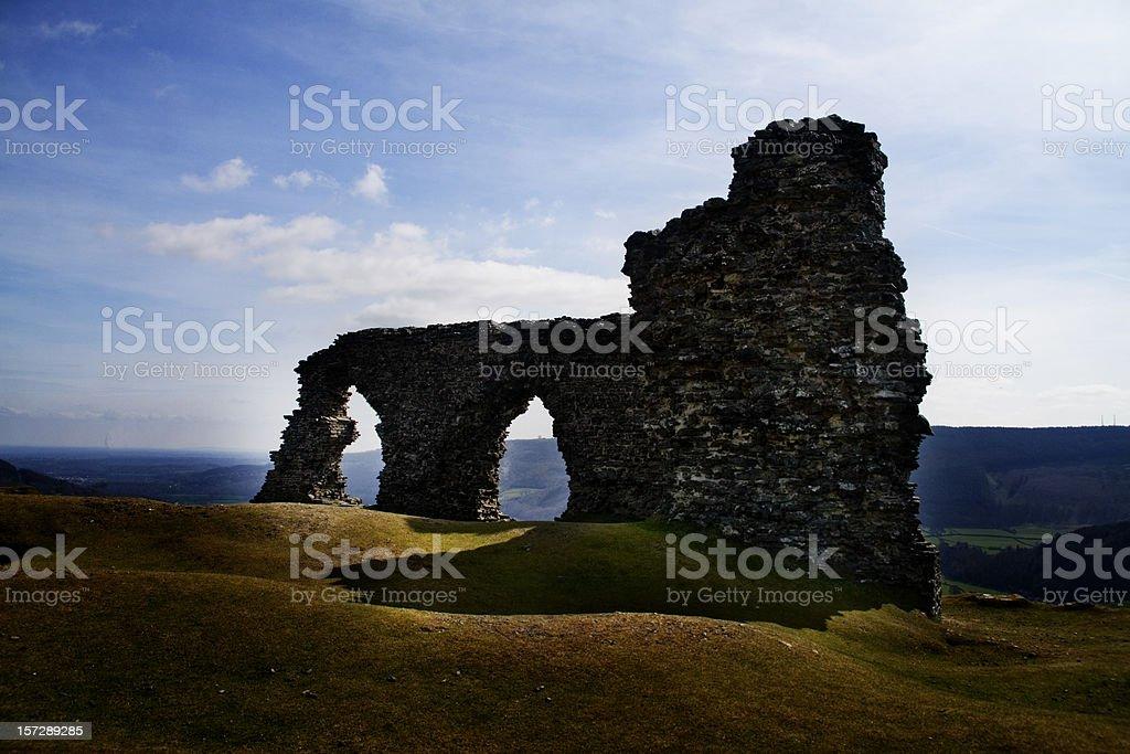 dinas bran castle ruin stock photo