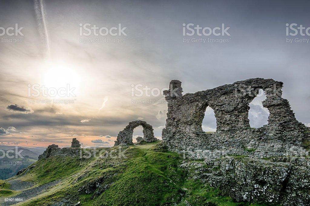 Dinas Bran Castle - Wales, UK, Sunset stock photo