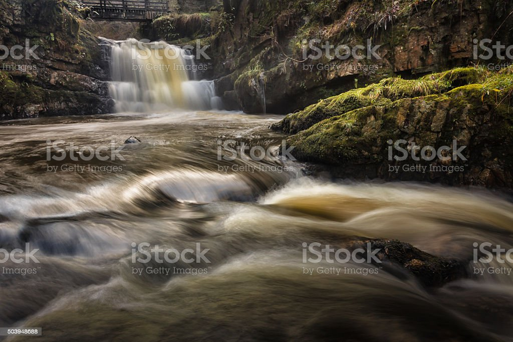 Dinas Rock Waterfalls stock photo