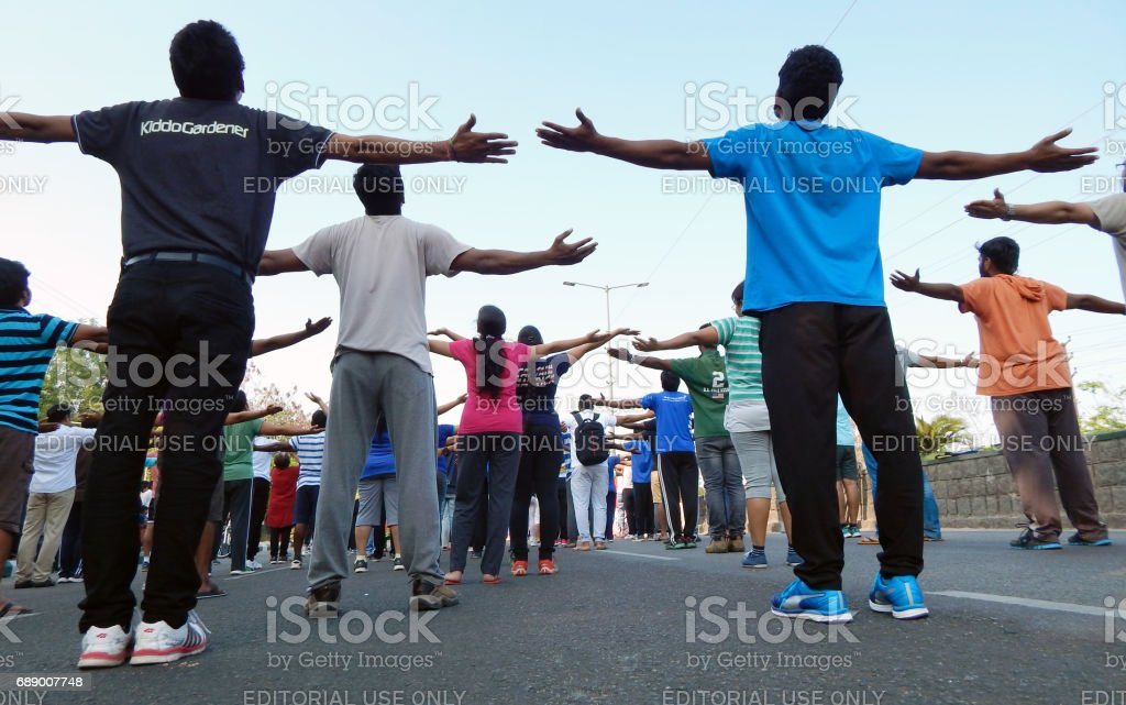 Dinaz Vervatwala Guinness record holder for 26 hours nonstop aerobics train people to promote fitness awareness on physical literacy days,on Sundays, on open streets, Hyderabad stock photo