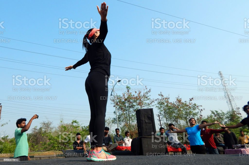 Dinaz Vervatwala Guinness record holder for 26 hours nonstop aerobics in 2010 train people on physical literacy sundays on streets without traffic, Hyderabad,India stock photo