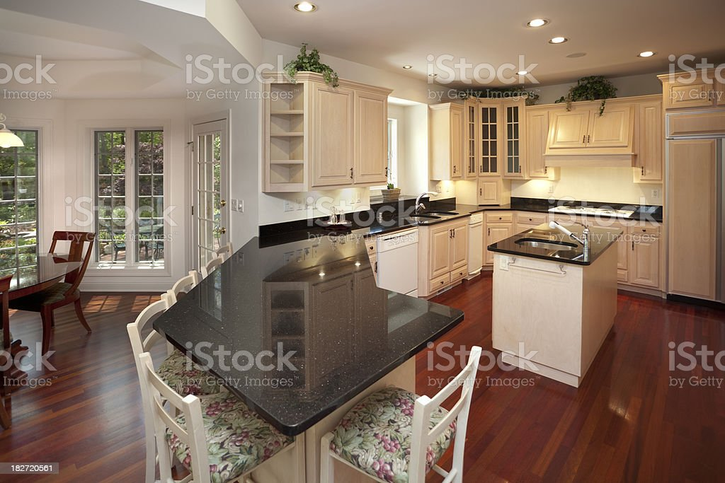 Dine-In Kitchen With Granite Counter Tops, Hardwood Floors, Custom Design royalty-free stock photo