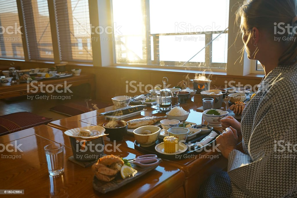Diner at sunset in Utoro town at Shiretoko, Japan stock photo