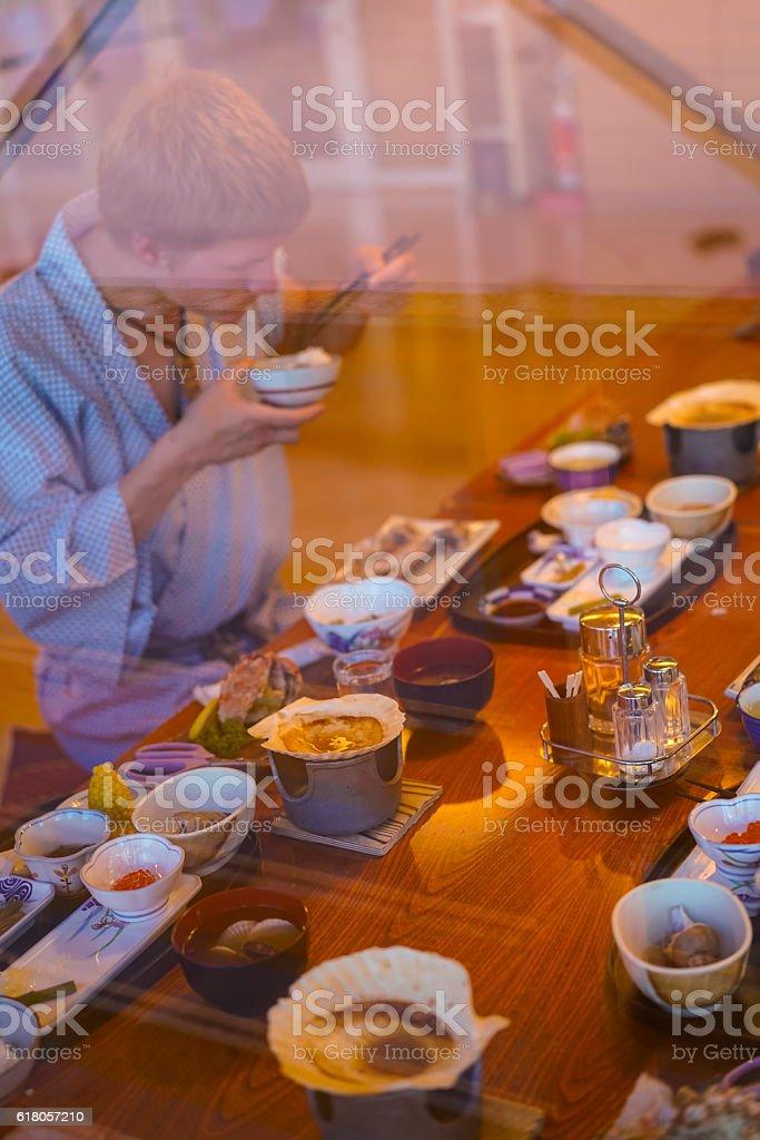 Diner at sunset in Utoro town at Shiretoko, Japan stock photo