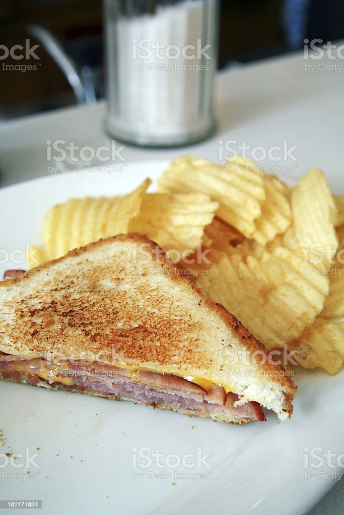 Diner Food - Ham and Cheese Half stock photo