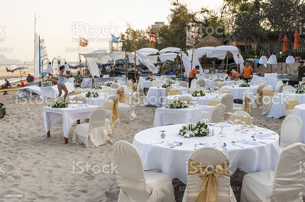 Diner On The Beach stock photo