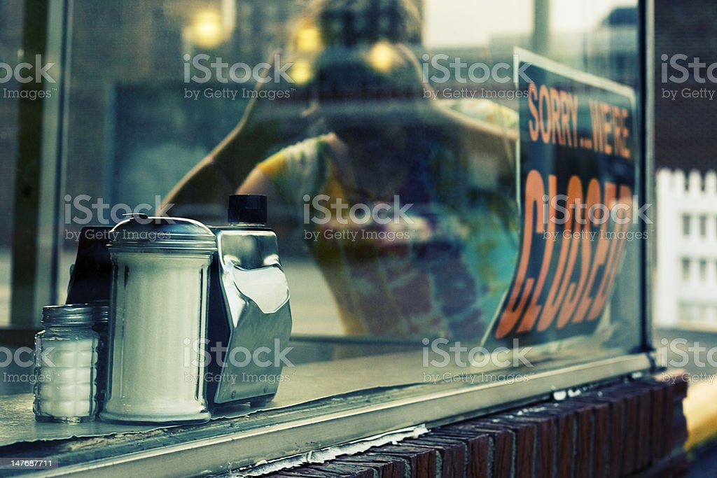 Diner Sorry We're Closed Sign Lomo royalty-free stock photo