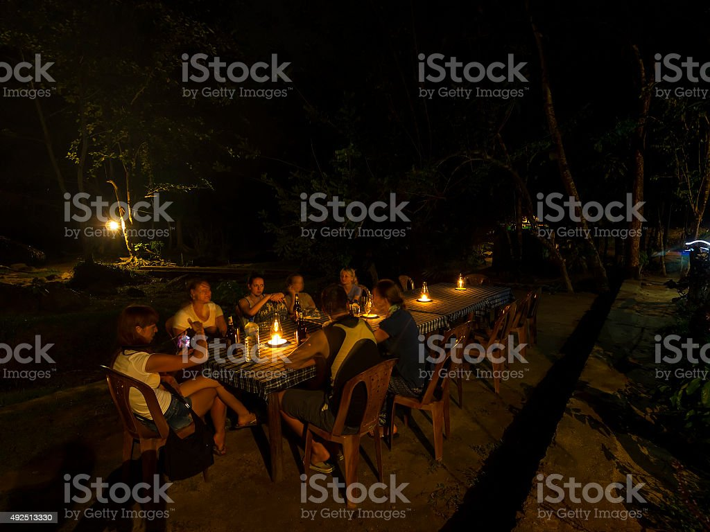 Diner with candels at River camp site, Sri lanka stock photo