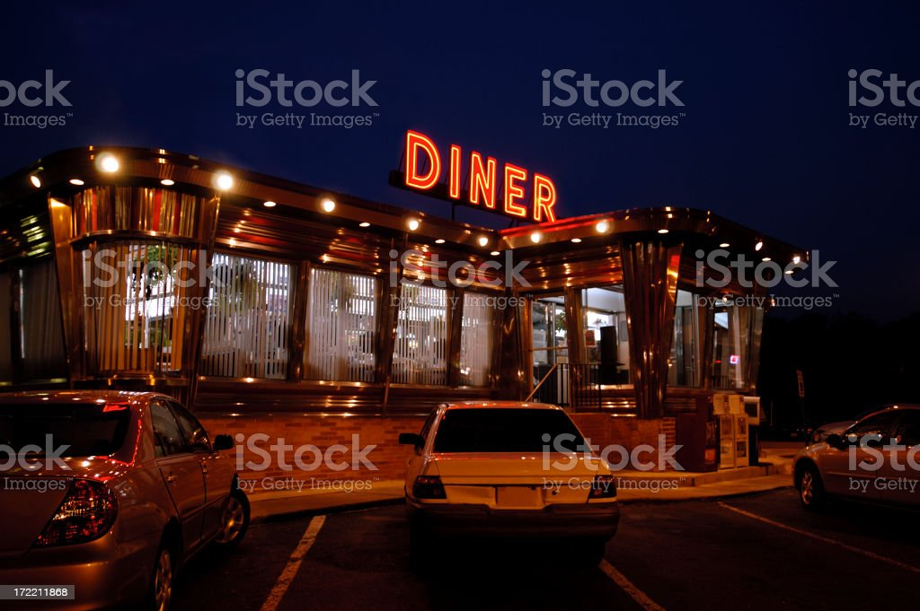 diner-at night stock photo