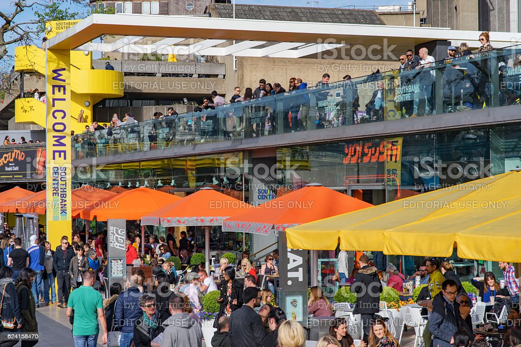 Diners and tourists at the Southbank in London stock photo