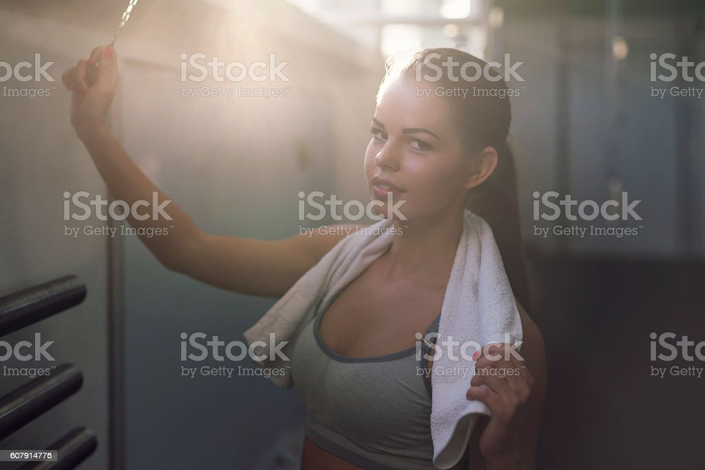 Ding for the end of workout stock photo
