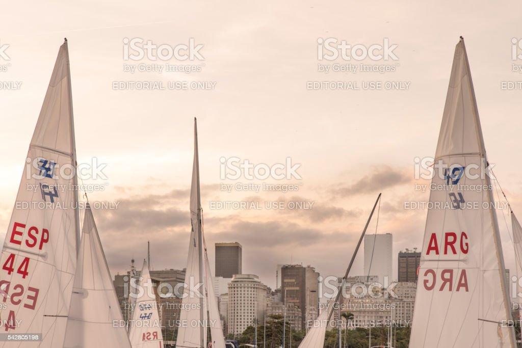 Dinghy 470 sailboat sails in Rio de Janeiro stock photo
