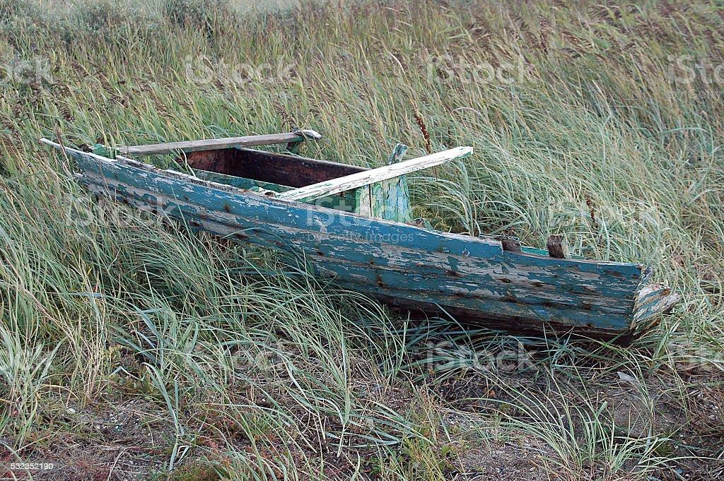 Dinghy wreck stock photo